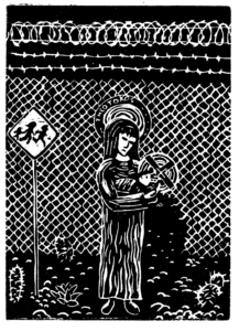 Mary, carrying the Christ child, stands beside a chain link fence that has been cut open.