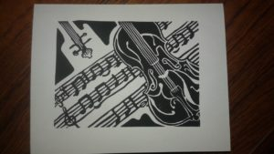 Card design of violin and music
