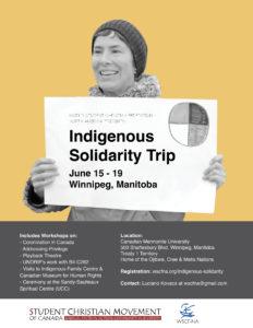 Indigenous Solidarity Trip Poster June 15-18 Winnipeg